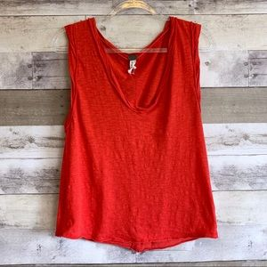 We the Free Relaxed Red Orange Cleo Tank Top
